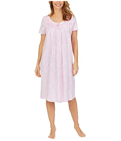 Carole Hochman Soft Jersey Short Sleeve Waltz Gown (Pink Paisley) Women