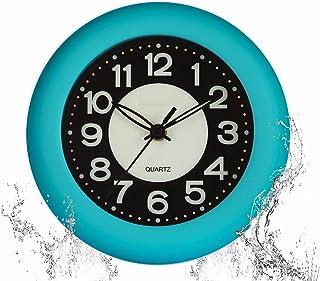 GXSTWU 時計 防水 お風呂時計 夜光蛍光 無音 暗くなると自動で蓄光る アナログ 壁かけ時計 置き時計 バス 洗面所 中庭 オフィス 部屋 寝室用 (ブルー)