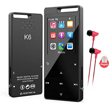 Reproductor MP4 Bluetooth 8 GB,TESECU MP3 Player MP3 Bluetooth ...