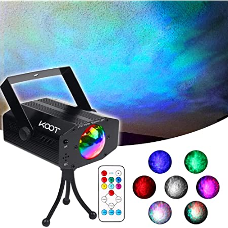 KOOT Water Wave Christmas Lights Projector, RGBW 7 Color Stage Party Lights, Water Effect Strobe Ripples Lighting with Remote for Wedding Home Karaoke Disco Halloween Kids Room