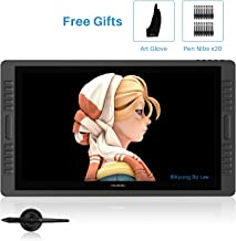 Huion Kamvas Pro 22 Drawing Tablet with HD Screen Digital Graphics Monitor Pen Display with Battery-Free Stylus 8192 Pen Pressure Tilt 20 Express Keys 2 Touch Bars - 21.5inch with Stand