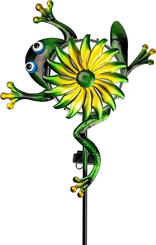 VEWOSTAR Solar Wind Spinner Outdoor Frog unisex Metal Windmill Fashionable Li