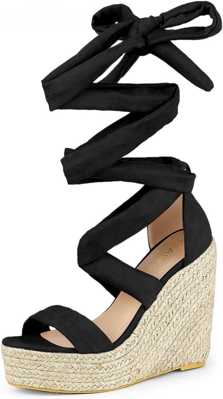 excellence Max 73% OFF Allegra K Women's Espadrille Platform Lace Heel Wedges Up Sandal