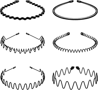 6Pcs Metal Headbands for Men Women, Spring Wavy Hair Bands Non-slip Simple Headwear Fashion Unisex Black Metal Hair Hoops for Home, Outdoor, Sports and Yoga