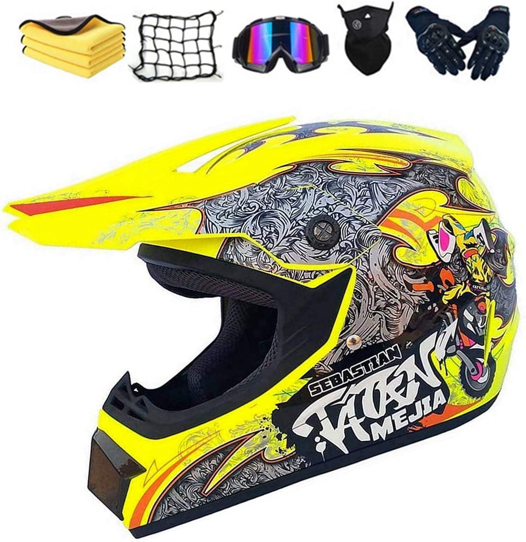 Adulto Motocross Casco,Cascos de Cross de Moto Niños,Moto Set con Gafas/Máscara/Guantes,ATV Downhill Dirt Bike Casco Integral MTB BMX Patrón Amarillo Moto Crash Casco