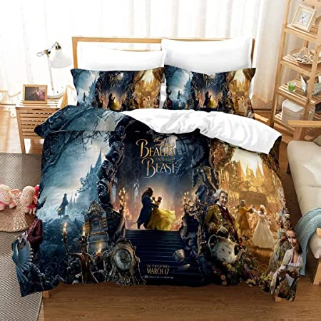 Amazon Com Disney Beauty And The Beast Belle Duvet Cover Sheets Pillow Case Three Piece Set Japanese Style Single Home Kitchen