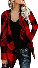 ACHIOOWA Women Buffalo Plaid Cardigans Long Sleeve Lapel Open Front Cardigan Jacket