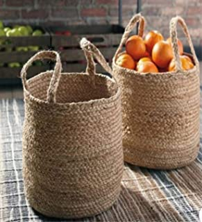 Printshoppie Handcrafted Woven Set of 2 Pieces Storage Basket Natural Jute | for Livingroom, Baby Laundry Baskets for Blanket Toys Towels Nursery Hamper Bin with Handle