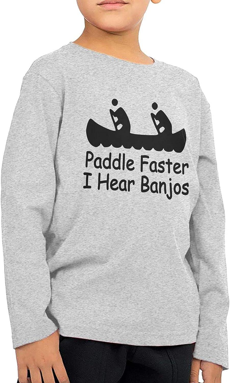 Plate Paddle Faster I Hear Banjo Boys Long Sleeve Shirts Cotton Sweatshirt Novelty T-Shirt Top Tees 2-6 Years