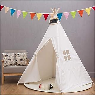 キッズテント 男の子と女の子はテント、屋内キッズテント、無垢材のスタンドを再生します-インストールが簡単、最高の誕生日プレゼント、120x120x150cm、2色 (Color : White)