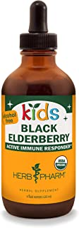 Herb Pharm Kids Certified-Organic Alcohol-Free Black Elderberry Glycerite Liquid Extract, 4 Ounce