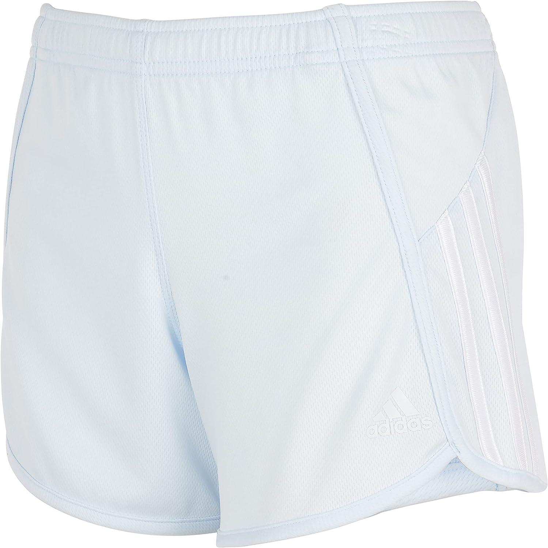 adidas Girls' Stripe Mesh Short, Light Blue, Medium