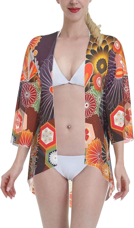 Women Chiffon Japan A Kimonos Cardigan Swimsuit Cover Ups Open Front Tops Shawls Wraps