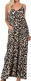 Women Strap Sleeveless Stripe V Neck Pockets Loose Casual Summer Beach Maxi Dress Sundress