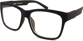 7435e6716 VINTAGE Retro Trendy Square Oversized Frame Clear Lens Eye Glasses BLACK  MATTE
