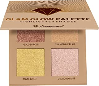 Highlighter Makeup Palette Face Powder Kit - With Mirror For Light To Medium Dark Skin - 4 Highly Pigmented Shimmer Colors For Highlighting and Contouring - Vegan, Cruelty Free And Hypoallergenic