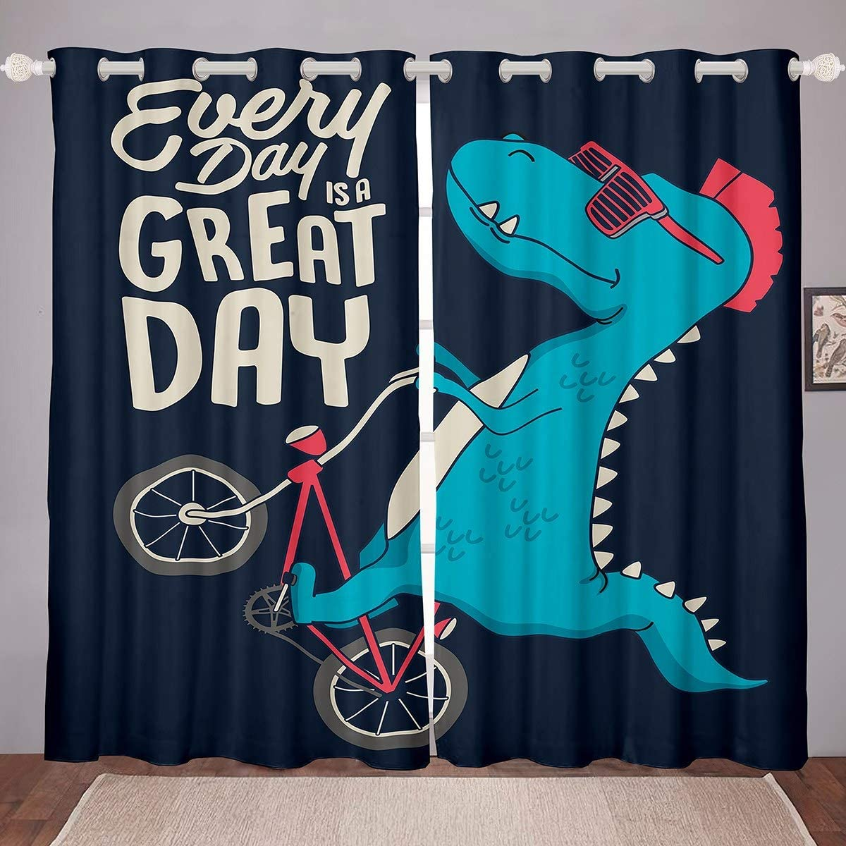 Ranking TOP9 Feelyou Kids Cartoon Max 55% OFF Dinosaur Curtain Cute Dino Treatment Window