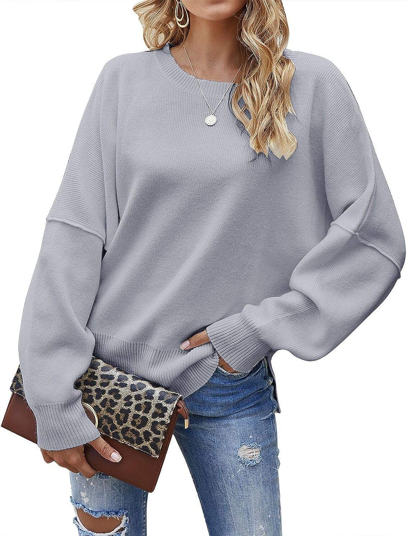 Jacansi Women's Casual Crew Neck Pullover Split Under blast sales Side 1 year warranty Loo Sweater