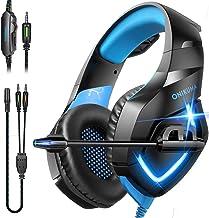 Fone de ouvido para jogos ONIKUMA – Fone de ouvido para jogos sobre a orelha com microfone, cancelamento de ruído estéreo,...