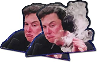 Elon Musk Smoking Weed Meme Weather-Proof Vinyl Sticker for Cars, Laptops, Skateboards, Water Bottles, Windows, Flat Surfaces