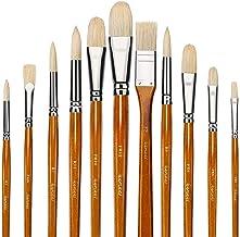 11pcs Professional Paint Brush Set-100% Natural Chungking Hog Bristle Artist Watercolor Brushes for Acrylic Gouache Oil Pa...