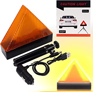 Road Safety Triangle Warning LED Light Kit, Magnetic Car Roadside Warning Reflector Roadside Sign Triangle Symbol with USB and Car Charger for Roadside Breakdowns Emergencies