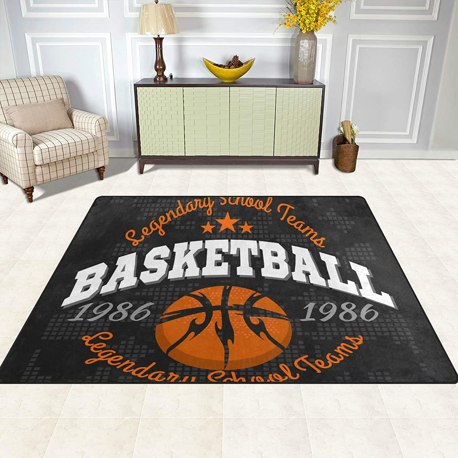FAJRO Basketball Emblem Rugs for entryway Doormat Area Rug Multipattern Door Mat shoes Scraper Home Dec Anti-Slip Indoor Outdoor