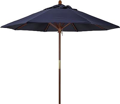 California Umbrella MARE908-5439 9-Feet Sunbrella Fabric Marenti Wood Rib Pulley Open Wood Market Umbrella, Navy