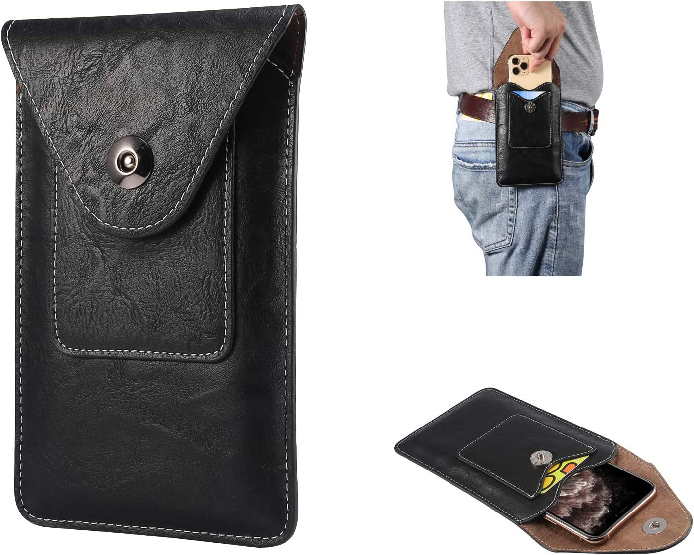 Leather Cellphone Holster Case with Belt Clip Pouch Case for Samsung S20+,Note10+,Note 10 Lite,A81,A10S Vertical Belt Holster Pouch Belt Loop Phone Holder for Men,for iPhone11 Pro Max/XS Max/6s Plus