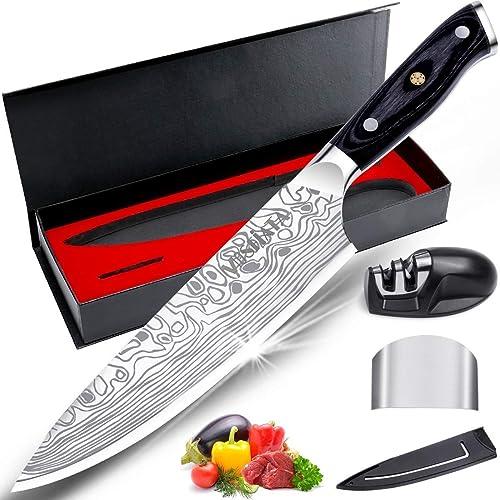 """MOSFiATA Couteau de chef , couteau de cuisine 8 """", couteau en acier inoxydable allemand EN1.4116 à haute teneur en ca..."""