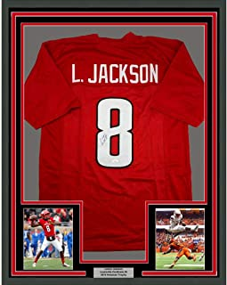 Framed Autographed/Signed Lamar Jackson 33x42 Louisville Red College Football Jersey JSA COA