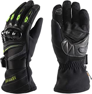ANSOPO Motorcycle Gloves Cycling Gloves Winter Waterproof Touchscreen Winter Warm Protective Gloves for Man and Women (Green, XL)