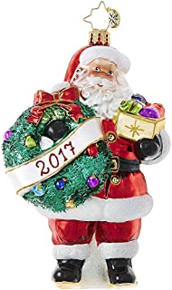 Christopher Radko Embrace the Year, Santa 2017 Dated Glass Ornament