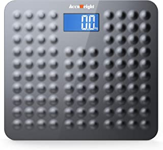 Accuweight 271B Bathroom Scale Digital Body Weight Scale with Non Slip Design 11lb to 400lb / 5 to 180kg, Gray