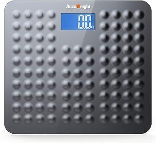 ACCUWEIGHT Báscula de Baño Digital de Alta Medición Precisa con Seguridad Gran Plataforma Antideslizante y Inastillable, 180 kg