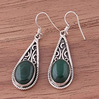 Pendientes ovalados de malaquita, pendientes colgantes, 925 pendientes de gota de plata esterlina para regalo de mujer Sterling Silver Drop Earrings