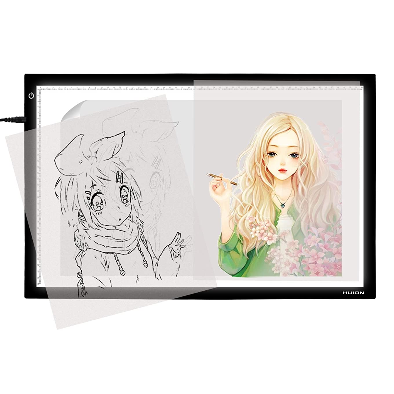 Huion A2 26.77 Inches Large Thin Light Box Drawing Light Board Tracing light pad with Adjustable Brightness for Artcraft, Animation, Sketching, Tattoo Transferring wmvldwtzxnqv