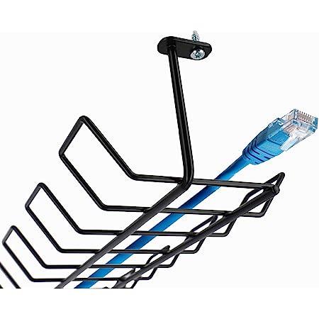 KADAX Goulotte de câble, horizontale, en acier, 72,5 x 16,5 x 8,7cm, cache-câbles, support de câble à visser, passe-câbles sous un meuble, noire