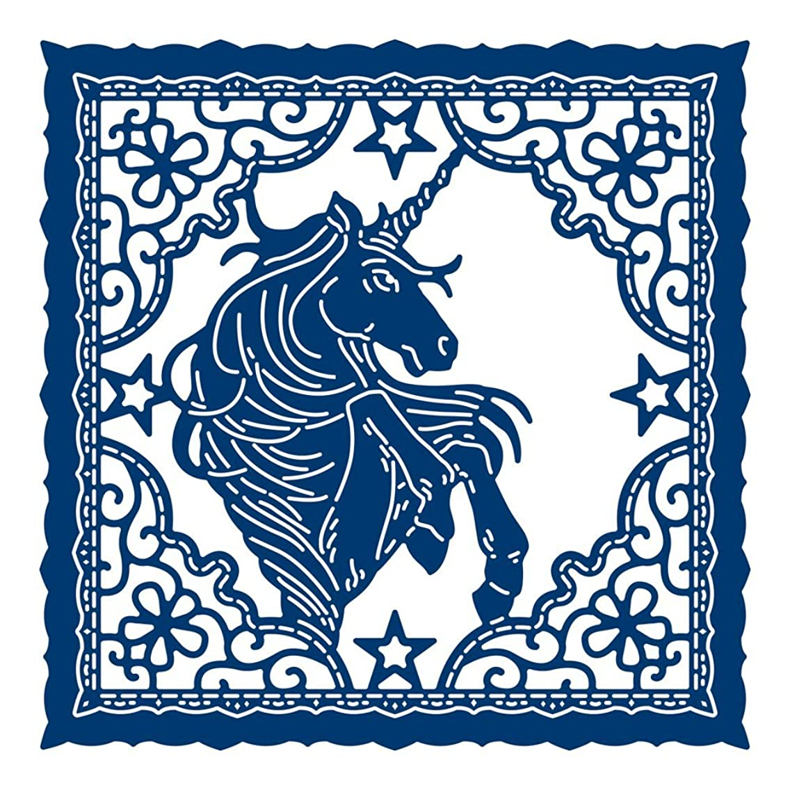Tattered Lace Unicorn Tapestry, Metal, Silver, 10.4 x 10.4 x 0.3 cm, Cutting Die 437547