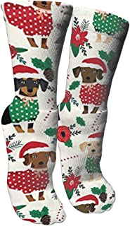 Doxie Christmas Cute Dachshunds Compression Socks Unisex Printed Socks Crazy Patterned Fun Long Cotton Socks Over The Calf Tube