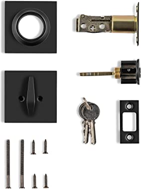 Berlin Modisch Single Cylinder Deadbolt Lock Slim Square for Front Door Modern Contemporary High Security Heavy Duty – Iron B