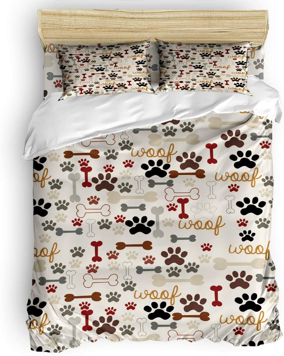 Queen Duvet Cover Long-awaited Set 4 Pieces Bed Sheet Dog Sets Luxury Cartoon Paw Pr