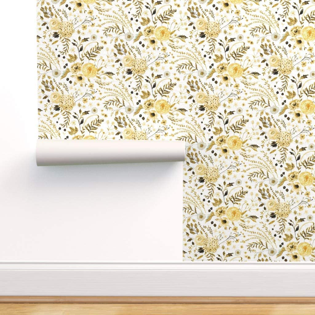 Free shipping Spoonflower Pre-Pasted Removable Wallpaper Yello New product type Sonetto Floral
