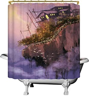 C COABALLA Fantasy Practical Shower Curtain,Old House Over The Cliffs on High Pink Sky Dreamy World Magical Foggy Town Image for Kids Bathroom,70''W x 90''H