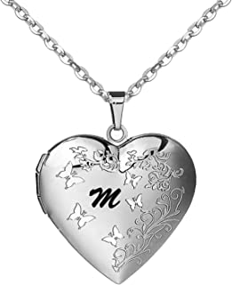 AMATOLOVE Locket Necklace for Women That Holds Pictures | Initial Necklace Alphabet A-Z Letter Necklaces for Girls,Butterf...