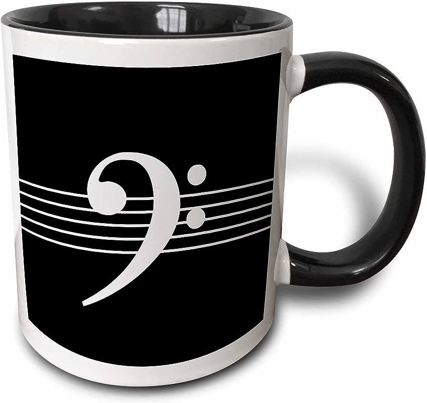3dRose 232122 4 Treble G Clef Staves Staff Black And White Music Gift Mug 11 Oz