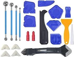 VERNUOS 22 Pieces Caulking Tool Kit,3 in 1 Caulking Tools Silicone Sealant Finishing Tool Grout Scraper Caulk Remover Caulk Nozzle Caulk Caps 5 Replaceable Pads with 4 Metal Ball Tile Caulk Finishing