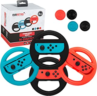 Premium Steering Wheels – Nintendo Switch Accessories Party Pack of 4 Perfect for Mario Kart 8 and All Things Racing (Come...