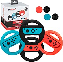 EVORETRO Premium Steering Wheels – Nintendo Switch Accessories Party Pack of 4 Perfect for Mario Kart 8 and All Things Rac...