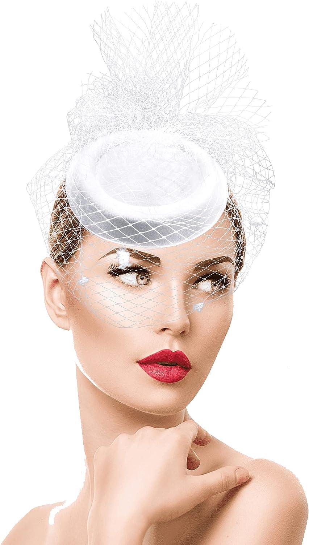 Women Cocktail Tea Party Pillbox Hat Vintage Veil Fascinator Hat Kentucky-Derby-Headwear